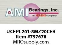 AMI UCFPL201-8MZ20CEB 1/2 KANIGEN SET SCREW BLACK 4-BOLT COV SINGLE ROW BALL BEARING