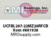 AMI UCFBL207-22MZ20RFCB 1-3/8 KANIGEN SET SCREW RF BLACK 3- FLANGE OPN COV SINGLE ROW BALL BEARING