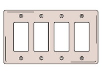HBL-WDK NP264GY WALLPLATE 4-G 4) RECT GY