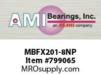 AMI MBFX201-8NP 1/2 STAINLESS NAR SET SCREW NICKEL SINGLE ROW BALL BEARING