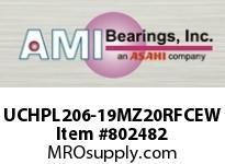 AMI UCHPL206-19MZ20RFCEW 1-3/16 KANIGEN SET SCREW RF WHITE H OPN/CLS COVERS SINGLE ROW BALL BEARING