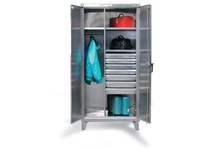 StrongHold 56-W-244-4DB-SS Stainless Steel Uniform Cabinet with Drawers 60x24x72 4 Shelves