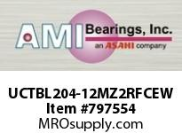 AMI UCTBL204-12MZ2RFCEW 3/4 ZINC SET SCREW RF WHITE TB PLW OPN/CLS COV SINGLE ROW BALL BEARING