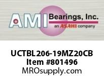 AMI UCTBL206-19MZ20CB 1-3/16 KANIGEN SET SCREW BLACK TB P 2 OPN COV SINGLE ROW BALL BEARING