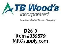 TBWOODS D26-3 HUB ROUGH BORE