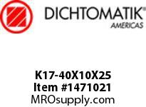 Dichtomatik K17-40X10X25 PISTON SEAL DOUBLE ACTING PISTON CUP NBR 90 DUROMETER AND METAL METRIC