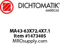 Dichtomatik MA43-63X72.4X7.1 ROD SEAL PTFE WITH METAL SPRING ROD SEAL METRIC