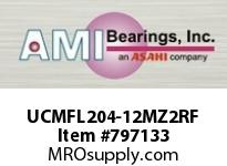 AMI UCMFL204-12MZ2RF 3/4 ZINC SET SCREW RF STAINLESS 2-B SINGLE ROW BALL BEARING