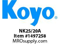 Koyo Bearing NK25/20A NEEDLE ROLLER BEARING SOLID RACE CAGED BEARING
