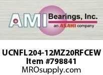 AMI UCNFL204-12MZ20RFCEW 3/4 KANIGEN SET SCREW RF WHITE 2-BO FLANGE CLS COV SINGLE ROW BALL BEARING