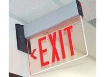 Fulham FHEX24ASREM FireHorse Emergency Exit Sign - LED Edge-Lit - Aluminum Housing - Single Face - Red Letters - Battery Backup