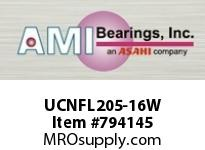 AMI UCNFL205-16W 1 WIDE SET SCREW WHITE 2-BOLT FLANG BEARING