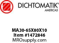 Dichtomatik MA30-65X80X10 ROD SEAL POLYURETHANE 92 DURO ROD SEAL METRIC