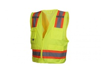 Pyramex RCZ2410M Hi-Vis Lime Vest with Contrasting Reflective Tape - Size Medium