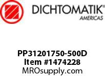 Dichtomatik PP31201750-500D SYMMETRICAL SEAL POLYURETHANE 92 DURO WITH NBR 70 O-RING DEEP LOADED U-CUP INCH