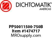 Dichtomatik PP50011500-750B SYMMETRICAL SEAL POLYURETHANE 92 DURO WITH NBR 70 O-RING DEEP BEVELED LOADED U-CUP INCH