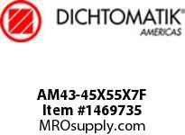 Dichtomatik AM43-45X55X7F WIPER METAL CLAD D STYLE FKM 90 DURO WIPER METRIC