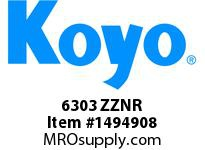 Koyo Bearing 6303 ZZNR SINGLE ROW BALL BEARING