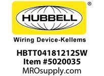 HBL_WDK HBTT04181212SW WBPRFRM RADI T 4Hx18Wx12Wx12WSTLWLL