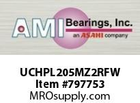 AMI UCHPL205MZ2RFW 25MM ZINC SET SCREW RF WHITE HANGER SINGLE ROW BALL BEARING
