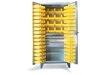 StrongHold 36-BBS-241-4DB-SS Stainless Steel 4 Drawer Bin Cabinet 36x24x72 1 Shelves