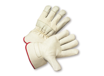 West Chester 5000/XXL Select Grain Cowhide Rubberized Safety Cuff Glove - White Cuff & Fabric Back: 2XLarge
