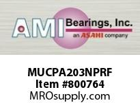 AMI MUCPA203NPRF 17MM STAINLESS SET SCREW RF NICKEL SINGLE ROW BALL BEARING