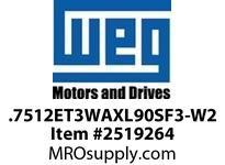 WEG .7512ET3WAXL90SF3-W2 0.75KW 1000 3/50/220-240 L90S IEC-CI