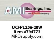 AMI UCFPL206-20W 1-1/4 WIDE SET SCREW WHITE 4-BOLT F ROW BALL BEARING