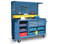 StrongHold 63-WB-303-6DB-12B-CA Mobile Workbench with Pegboard Bins and Dividers 72x30x36 6 Shelves