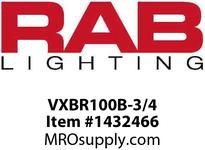 RAB VXBR100B-3/4 VAPORPROOF 100 WALL BRK 4 BOX 3/4 BLACK WITH GLASS GLOBE