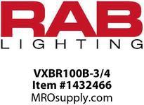 RAB VXBR100B-3/4 VAPORPROOF 100 WALL BRK 4 BOX 3/4 BLACK WITH GLASS GLOBE