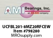 AMI UCFBL201-8MZ20RFCEW 1/2 KANIGEN SET SCREW RF WHITE 3-BO FLANGE CLS COV SINGLE ROW BALL BEARING