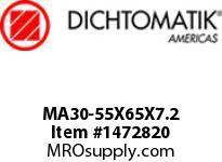Dichtomatik MA30-55X65X7.2 ROD SEAL POLYURETHANE 92 DURO ROD SEAL METRIC