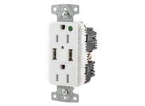 HBL_WDK USB8200A5W RCPT HG DUP 15A 125V 5A 5V USB PORT A WH