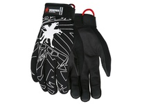 MCR MB100L Memphis Multitask Black Synthetic Leather Palm/Fingertips Black Adjustable Wrist Closure Black Fabric Back w/