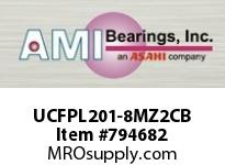 AMI UCFPL201-8MZ2CB 1/2 ZINC WIDE SET SCREW BLACK 4-BOL COV SINGLE ROW BALL BEARING
