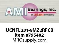 AMI UCNFL201-8MZ2RFCB 1/2 ZINC SET SCREW RF BLACK 2-BOLT COV SINGLE ROW BALL BEARING