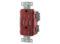 HBL_WDK USB8200A5R RCPT HG DUP 15A 125V 5A 5V USB PORT A R