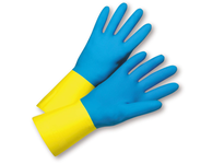 West Chester 33224/L 22mil Flock Lin Blue Neoprene over Yellow Latex Bulk Packaged - Economy