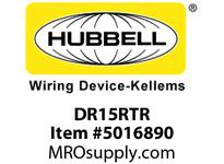 HBL_WDK DR15RTR TAMP RES DECO FACE 15A 125V 5-15R R