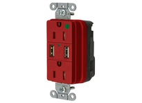 HBL_WDK SNAP8200USBR USB CHGR SNAP HG 15A125V DUP 3A5V PT RED