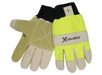 MCR 940HVXXL X-Cavator Hi-Viz Mining Glove Grain Pig Double Palm Knit Wrist