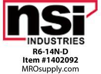 NSI R6-14N-D NYLON INSULATED RING TERMINAL AWG 6 1/4 STUD PK 15