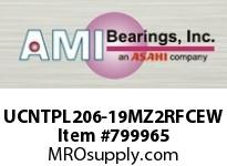 AMI UCNTPL206-19MZ2RFCEW 1-3/16 ZINC SET SCREW RF WHITE TAKE OPN/CLS COVERS SINGLE ROW BALL BEARING