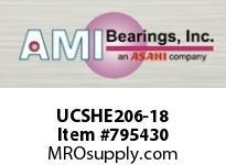 AMI UCSHE206-18 1-1/8 WIDE SET SCREW TAPPED BASE PI SINGLE ROW BALL BEARING