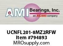 AMI UCNFL201-8MZ2RFW 1/2 ZINC SET SCREW RF WHITE 2-BOLT ROW BALL BEARING