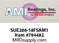 AMI SUE206-18FSAM1 1-1/8 NORMAL WIDE CYL O.D. ACCU-LOC INSERT SINGLE ROW BALL BEARING