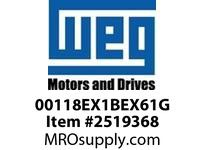 WEG 00118EX1BEX61G 1HP 1800 1 60 115/208-230V XP - Std Eff