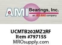 AMI UCMTB202MZ2RF 15MM ZINC SET SCREW RF STAINLESS TA BLK SINGLE ROW BALL BEARING